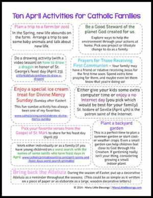 10 April Activities for Catholic Families Printable (older version)