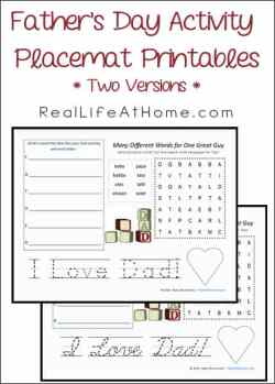 Fathers Day Activity Placemat Printables