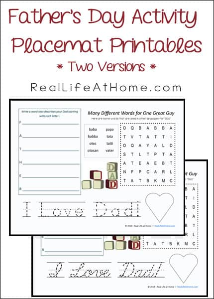 Father's Day Activity Placemat Printables