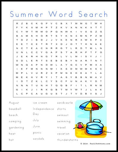 Summer Word Search Free Printable