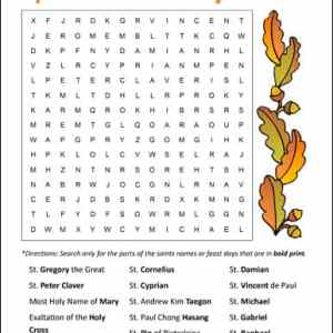 September Saints and Feast Days Word Search Printable