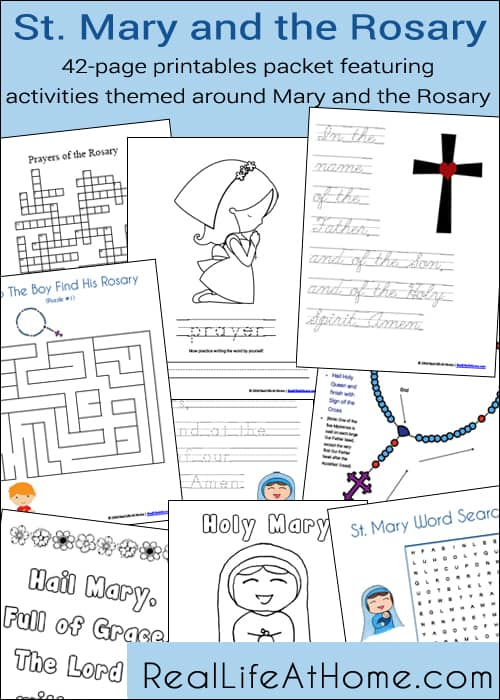 photograph regarding Mysteries of the Rosary Printable called St. Mary and the Rosary Printables and Worksheet Packet