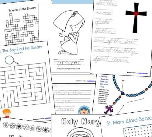 St. Mary and the Rosary Printables and Worksheet Packet