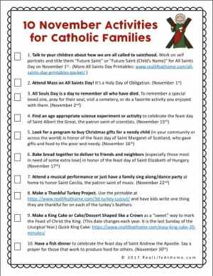 Fun Faith Formation Activities for Catholic Families in November - Free Catholic Printable