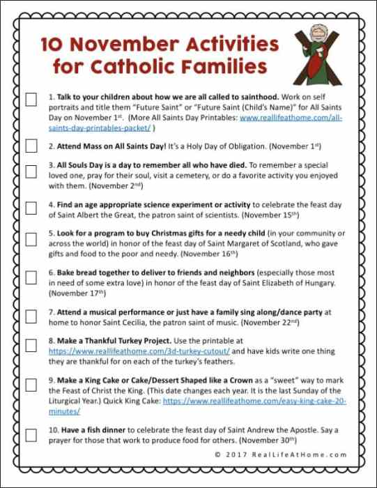 Activities For Catholic Families In November