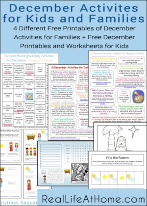 Free Printables for Families and Kids to Use in December