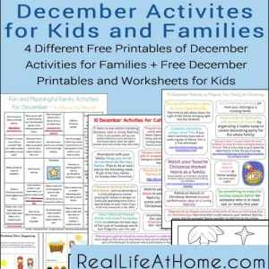 December Activities for Families and Kids: Free Printables   RealLifeAtHome.com