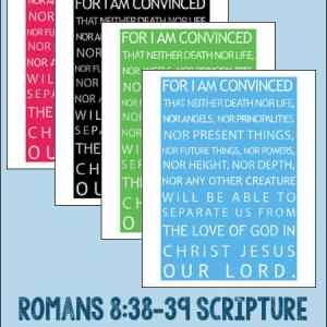 Romans 8:28-29 Scripture Subway Art Free Printable in Four Colors