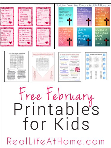 Free February Printables for Kids - featuring printables for Valentine's Day, Presidents' Day, Lent, Winter, and More! | RealLifeAtHome.com