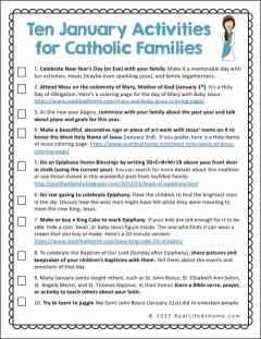 A free printable page featuring ten faith formation activities for Catholic families in January #CatholicKids #CatholicPrintables #CatholicFamilies