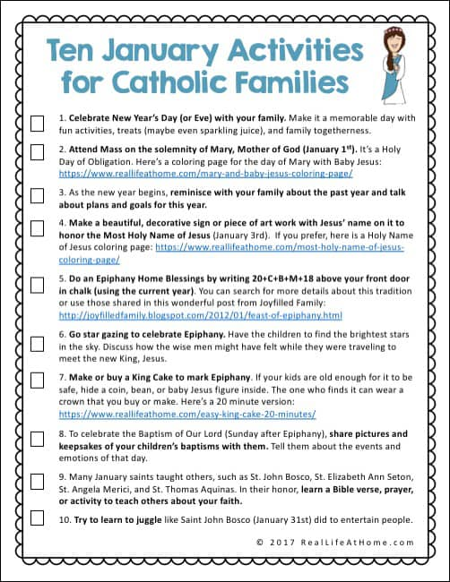 A Free Printable Page Featuring Ten Faith Formation Activities For Catholic Families In January CatholicKids