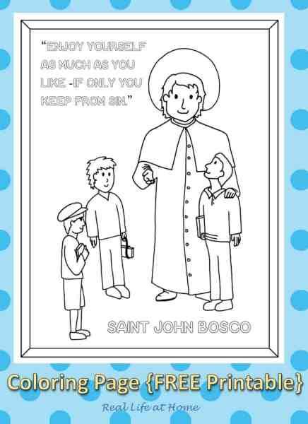 Saint John Bosco Coloring Page Printable - Real Life at Home