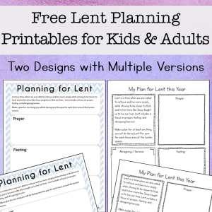 Working on planning for Lent? Here are some free printable Lent ideas pages to help you plan for your Lenten prayer, fasting, and almsgiving / service. These pages will help make this Lent more prayerful and meaningful.