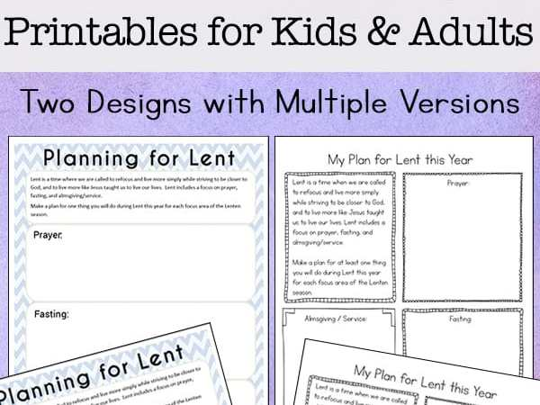 Planning for Lent: Free Printable Lent Ideas Planning Pages