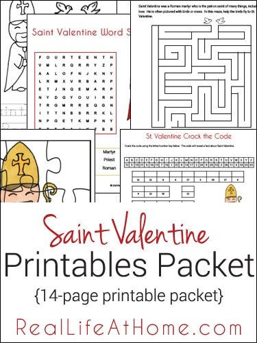 Saint Valentine themed free 14-page printables and worksheets packet from RealLifeAtHome.com
