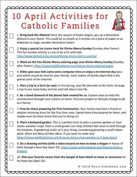 A free printable page that features 10 April Activities for Catholic Families to help your family have fun together while working on faith formation.