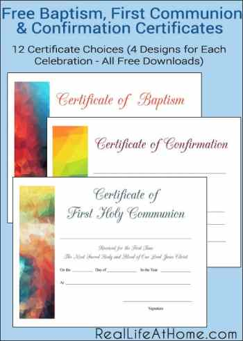 Free Baptism, First Communion, and Confirmation Printable Certificates (Each Available in Four Different Designs)