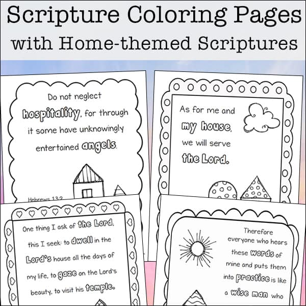 picture regarding Free Printable Scripture Verses identified as Dwelling-Themed Scripture Coloring Webpages Free of charge Printables