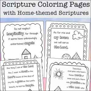 Free four page printable coloring pages featuring Bible verses
