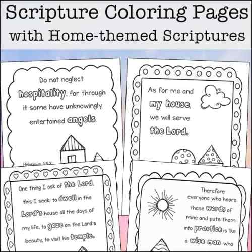 Free four page set of Scripture Coloring Pages