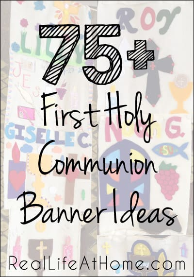 75 design ideas for first communion banners plus links to other first communion resources