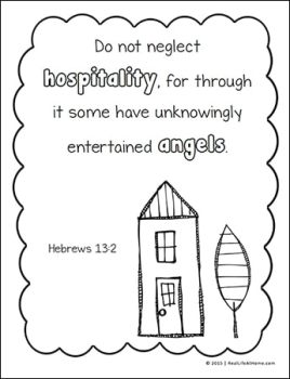 Free Hebrews 13:2 Coloring Page from the Scripture Coloring Pages Set on Real Life at Home