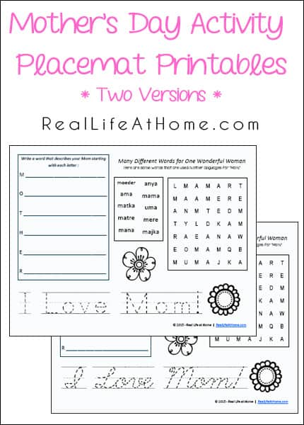 Mothers Day Activity Placemat Free Printables