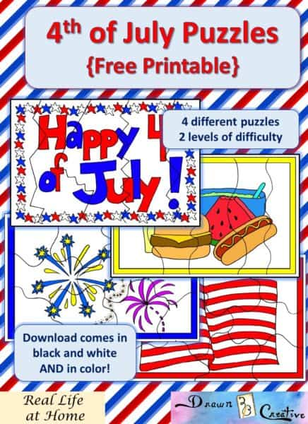 Free 4th of July printable Puzzles - 4 different puzzles with 2 different levels of difficulty