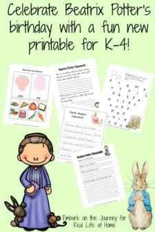 Celebrate Beatrix Potter's birthday with a free printable for K-4. | reallifeathome.com