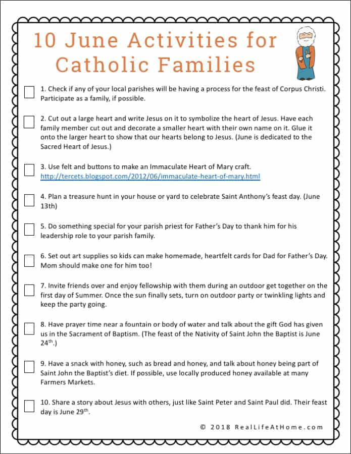 graphic regarding Catholic Printable Activities called 10 June Functions for Catholic People - No cost Printable