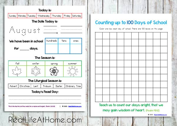 Daily Learning Page and 100 Days Chart from Daily Learning Notebook and Calendar Printables Packet