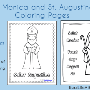 Free Coloring Pages featuring Saint Monica and Saint Augustine | RealLifeAtHome.com