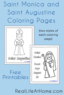 Saint Monica and Saint Augustine coloring pages - free download!