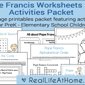 28-page Pope Francis Printables and Worksheet Packet