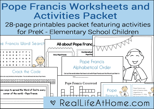 Pope Francis Printables and Worksheet Packet {28 pages}