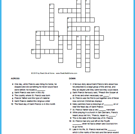 Saint Francis of Assisi Crossword Puzzle Free Printable