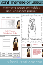 Saint Therese Printables and Worksheet Packet {31 pages}