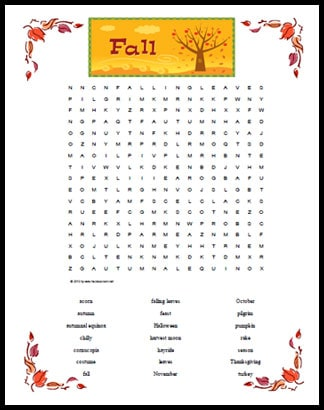 Fall Themed Word Search Printable