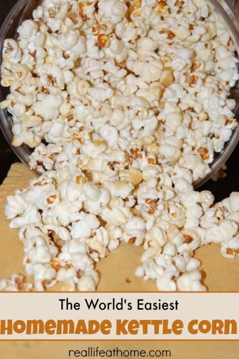 The world's easiest homemade kettle corn recipe!  This will quickly become a family favorite for movie nights and after school snacks.