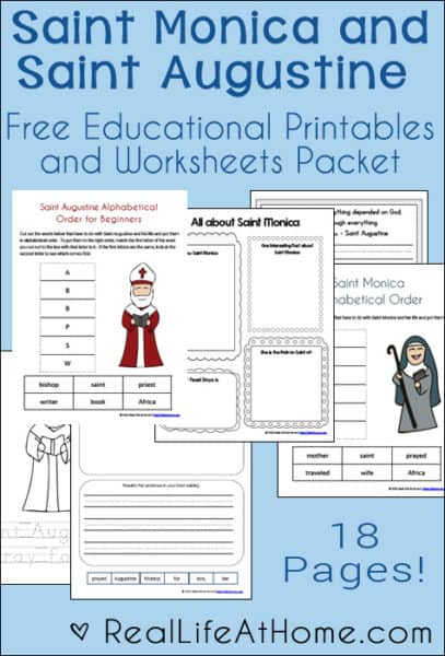 Saint Monica and Saint Augustine Free 18-Page Printables Packet