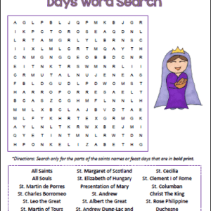 November Catholic Saints and Feast Days Word Search {FREE Printable}