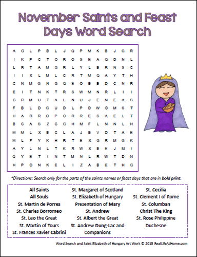 November Saints Feast Days Word Search on 10 Activities For Catholic Families In November Printable