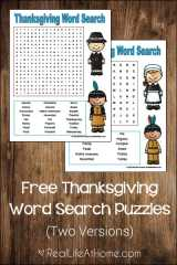 Free Thanksgiving Word Search Printables