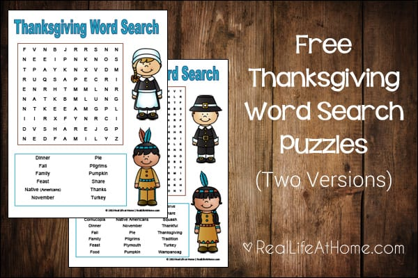 Thanksgiving Word Search for Kids {Free Printable}