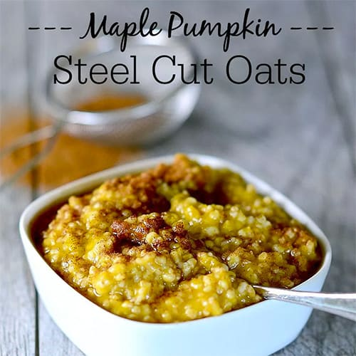 Maple Pumpkin Steel Cut Oats - this warm, comforting oatmeal is the perfect fall breakfast!