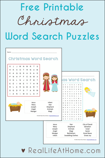 Free Printable Religious Christmas Word Search Printable Set {Includes two versions with different levels of difficulty to make it perfect for many ages}