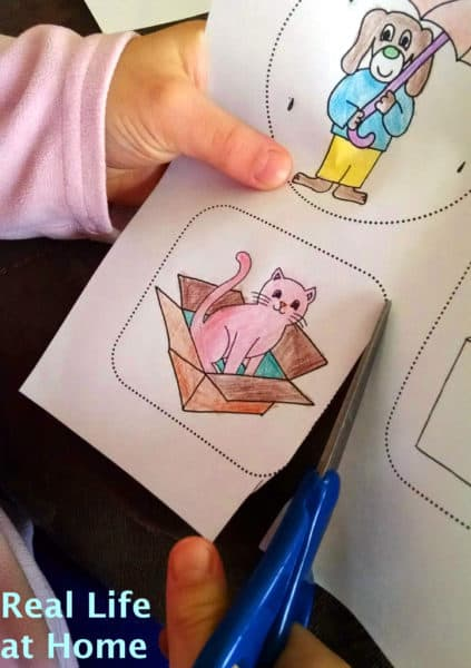 dotted lines to cut out around {My Little Book of Opposites free printable packet activity for preschoolers}