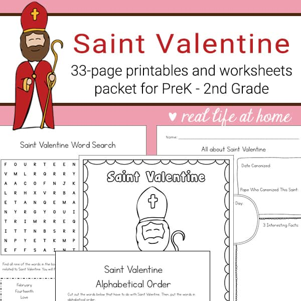 Saint Valentine Printables and Worksheet Packet