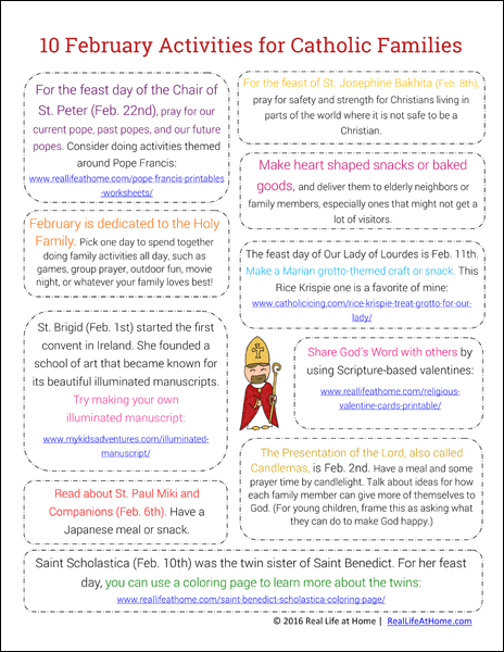 10 February Activities for Catholic Families (This is the newest version of this popular printable with 10 new activities)