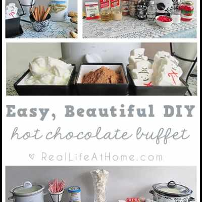 How to Create Your Own Easy, Beautiful Hot Chocolate Buffet {This is such a fun idea for parties or other gatherings!}